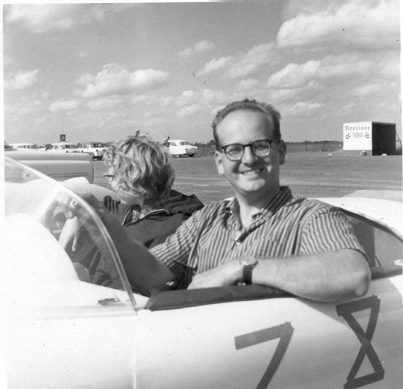 Frank and Paula in a racecar