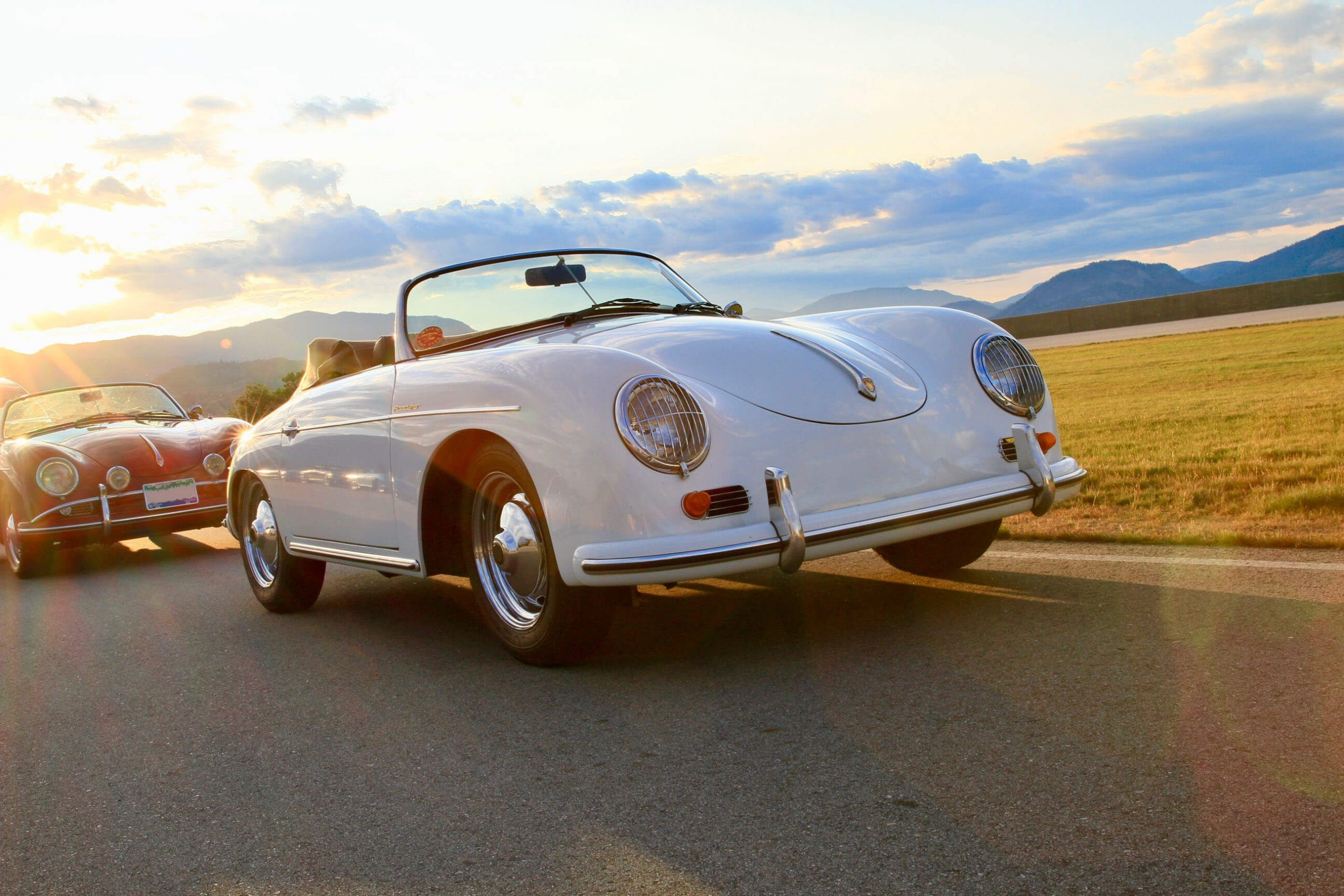 White Intermeccanica Roadster at Sunset, Front View